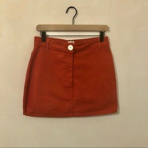 BDG Brushed Cotton Orange Mini Skirt